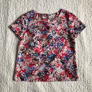 J CREW, Short Sleeve Flowy Floral Blouse, size S